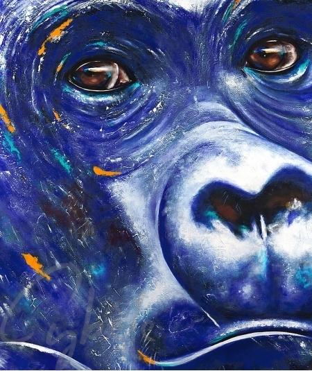 Toile animalière tête de gorille bleu nommé blue gorilla par l'artiste Cybèle